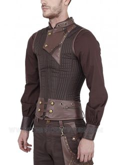 The antiqued brass buttons and faux brown leather accents give this corset a… Costume Steampunk, Style Steampunk, Steampunk Men, Steampunk Clothing, Steampunk Fashion, Steampunk Corset, Steampunk Vetements, Steampunk Accessoires, Neo Victorian