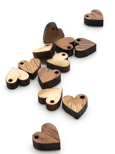 Laser geschnittene Mini Herzen aus Holz Perlen von TimberGreenWoods