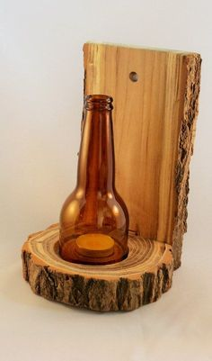 Hand crafted wooden candle holder with brown round cut bottle glass top    One candle openings.    Measurements: 23cmH x base diameter 12cm (9 x                                                                                                                                                                                 More