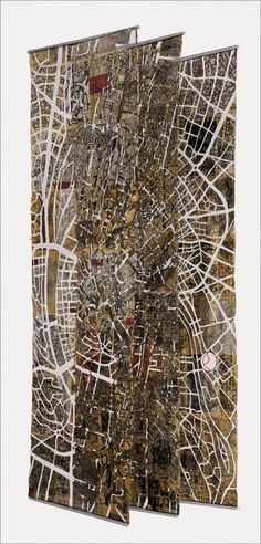 ESZTER BORNEMISZA Lung of the City (2011) Reprinted newspaper, thread, yarn; dyed, machine sewn, 118″ x 39.25″ x 31.5″ Fiberart International 2013 photo #maps