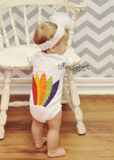 OMGosh! This is too cute!! :) Baby Thanksgiving Turkey Onesie. $29.95, via Etsy.