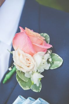 Coral Rose Buttonhole Groom Fresh Relaxed Peach Barn Wedding http://lisahowardphotography.co.uk/