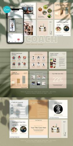 COACH - Canva Instagram Template  Instagram Canva Template for coaches, teachers, food bloggers, podcasters, personal trainers, nutrition experts and entrepreneurs. Featuring eye-candy minimalistic template designs to get your audience and sell your digital offers and courses. Coach Instagram, Being Used Quotes, Branding Template, Cosmetic Shop, Checklist Template, Brand Building, Personal Trainer, Colorful Backgrounds, Eye Candy