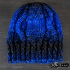 f2e882387ca Gradient Ombre knitted Beanie Hat Black Blue - Handmade Cable Braid Knit Hat  mens womens winter Skiing fashion knit hat rock style gift
