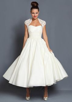 Short, tea length and 1950s inspired wedding dresses by Cutting Edge Brides