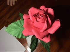 How to:Handmade Paper Flower- Rose tutorial-'Natural Rose' step by step - YouTube