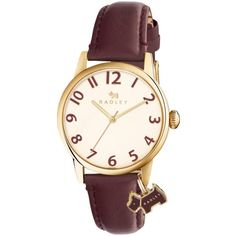 Radley Women's Liverpool Street Leather Strap Watch , Bordeaux/Cream (6.390 RUB) ❤ liked on Polyvore featuring jewelry, watches, water resistant watches, dog jewelry, leather-strap watches, slim wrist watch and slim watches