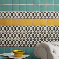 Love the idea of doing pillows like this - Turquoise solid + black/white pattern (we already have mustard walls but maybe a pop of that could work too)