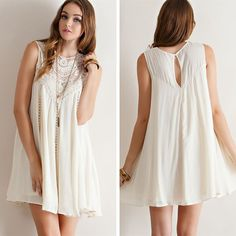 Crochet Lace Flowy Dress - Natural - $39.50