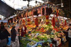 La Boqueria Market - Barcelona.  So colourful, and I had an amazing seafood platter at El Quim de la Boqueria http://elquimdelaboqueria.cat/