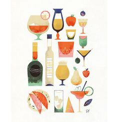 """Happy Hour"" by Sol Linero ""The Happy Hour Poster"" is an edition of 100 prints by Sol Linero. With a small border for . Cocktail Illustration, Flat Illustration, Food Illustrations, Digital Illustration, Fantasy Illustration, Character Illustration, Watercolor Illustration, Happy Hour, Wow Art"