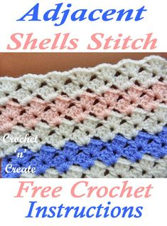 Diy Crafts - crochetstitch,crochettutorial-Sweet stitch FREE crochet tutorial, use for baby shawls, ladies shawls or projects for around your home. Crochet Stitches For Blankets, Crochet Stitches Free, Crochet Shell Stitch, Crochet For Beginners Blanket, Crochet Basics, Crochet Blanket Patterns, Free Crochet, Crochet Ripple, Manta Crochet