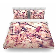 East Urban Home Angry Bird in Fall Leaves by Qing Ji Nature Featherweight Duvet Cover Size: Queen