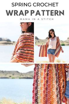 I love this wrap for the spring season! The understated, lacy stitch pattern is just feminine enough while the color changing yarn is stunning! There's a full free crochet pattern to show you how to make this pretty wrap. Crochet Shawls And Wraps, Crochet Scarves, Crochet Clothes, Knitted Shawls, Crochet Gratis, Free Crochet, Knit Crochet, Crochet Vests, Crochet Cape