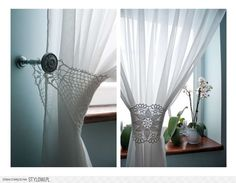 crochet:  Hmm, I have some doilys my Mother crocheted, bet they weould work.    Lace Curtain-Catcher