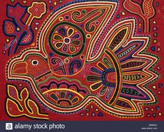 Traditional Decorative Fabric Panel, Molas, Bird By Kuna Indians ...