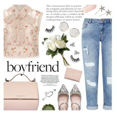 """borrowed from the boys: boyfriend jeans"" by jesuisunlapin ❤ liked on Polyvore featuring Needle & Thread, National Tree Company, Miss Selfridge, Givenchy, Miu Miu, Jennifer Behr, Dolce&Gabbana, Jewel Exclusive, Acne Studios and croptop"
