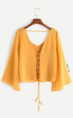 Shop Kimono Sleeve Criss Cross Lace-Up Blouse online. SheIn offers Kimono Sleeve Criss Cross Lace-Up Blouse & more to fit your fashionable needs. Hijab Fashion, Fashion Clothes, Girl Fashion, Fashion Outfits, Womens Fashion, Fashion Trends, Fashion Black, Fashion Ideas, Umgestaltete Shirts