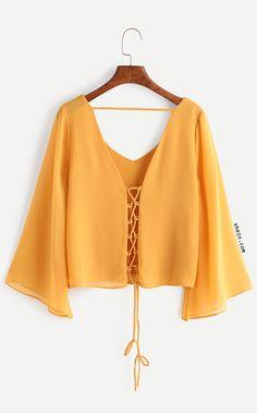 Kimono Sleeve Criss Cross Lace-Up Blouse