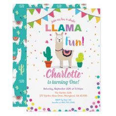 Girl first bday Invitation - birthday cards invitations party diy personalize customize celebration First Birthday Presents, Bday Gifts For Him, Baby Boy First Birthday, Unique Birthday Gifts, First Birthday Parties, First Birthdays, Birthday Celebration, Llama Birthday, Birthday Fun