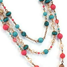 Tiered necklace in turquoise aqua and coral pink by AdornmentsNYC, $165.00
