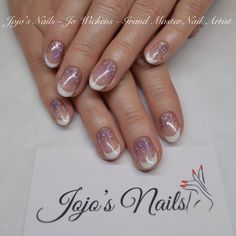 CND Shellac french manicure with glitter fade - By Jo Wickens @ Jojo's Nails - www.jojosnails.com