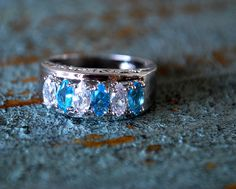 RING JEWELRY, 10K White Gold Filled Sapphire Ring Size7.5, engagement ring, promise ring, gift
