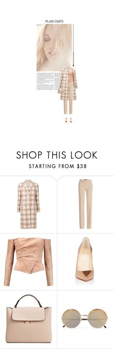 """Beige Plaid Coat"" by butterflykisses89 ❤ liked on Polyvore featuring Chanel, Derek Lam, Balmain, Christian Louboutin, MANGO, Cutler and Gross, StreetStyle, fashionstyle, contestentry and plaidcoats"