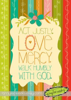 Christian Gift, Scripture art, Bountiful Blessings - Act Justly, Christian art print on Etsy, $10.00