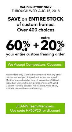 0e346e7a89 Joann Coupon  60% Off Custom Framing + Extra 20% Off