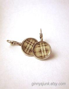 Black & White Plaid Dangle Earrings  Silver Dangle by GinnysJunk, $12.00
