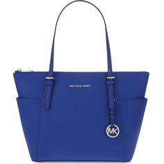 Michael Michael Kors Jet Set Saffiano leather trapeze tote (€150) ❤ liked on Polyvore featuring bags, handbags, tote bags, michael michael kors handbags, tote bag purse, saffiano leather tote, blue tote handbags and tote handbags