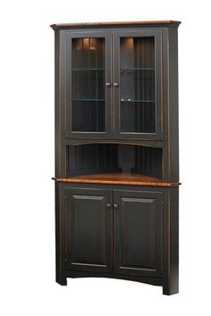 Amish Pine Shaker Corner Hutch Free shipping on this hutch from the Heritage Pine Collection. Amish made in Pennsylvania. Perfect for country and cottage styles. Choice of finish including paint finishes and distressing options. #DutchCrafters