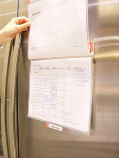 DIY Easy Meal Planner : use a Magnetic Mead Flip Folder [from Target] as a meal planner, the magnets make it easy to remove from fridge and take to the desk to plan meals for the month.