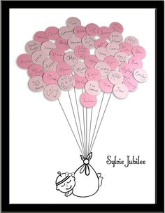 Large Baby Shower Guest Book Print for up to 50 guests - Girl