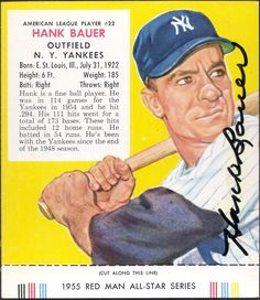 1955 Red Man Hank Bauer autograph