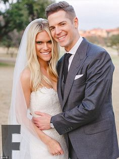 Lauren Scruggs and Jason Kennedy are pictured shortly after the ceremony, in the first official photograph from the wedding