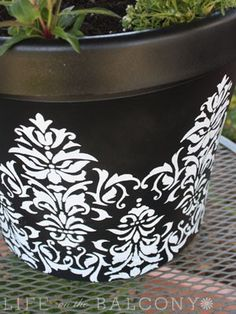 Recycling old/ugly pots by painting and stenciling them ~ to add to my exterior spray paint projects! - Click image to find more Gardening Pinterest pins