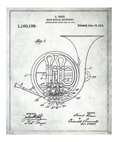 Take a look at this 'Brass Musical Instrument' Patent Art Print by Oliver Gal on #zulily today!