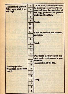Daily routine Franklin recommended in his 1791 autobiography.
