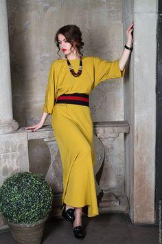 Купить Платье.Платье в пол ,вечернее платье в пол (горчичный цвет) - платье, Платье нарядное
