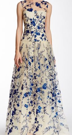 Illusion Neck Floral Embroiderd Gown by Jaglady