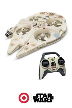 High-flying fun is here with this remote-controlled quad-copter Millennium Falcon. Zip through the backyard, zoom through the living room or blast into hyperdrive with the scaled down version of the iconic Star Wars ship.