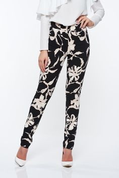 df947b2e36 PrettyGirl black trousers conical from elastic fabric with medium waist,  soft fabric, tented cut