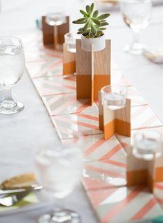 52 New ideas diy wedding centerpieces modern candle holders Modern Candle Holders, Modern Candles, Ceramic Candle Holders, Easter Table Decorations, Decoration Table, Wedding Decorations, Washi Tape Crafts, Geometric Wedding, Geometric Decor