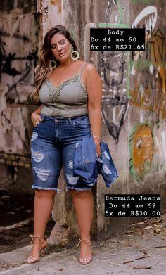 Look Plus Size, Plus Size Casual, Lotus, Denim Shorts, Fantasy, Women, Fashion, Spring Summer, Brazil