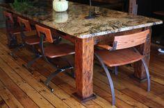 Gorgeous wood and granite table & chairs. Granite Coffee Table, Granite Dining Table, Diy Dining Table, Rustic Table, Patio Table, A Table, Picnic Tables, Patio Bar, Granite Remnants