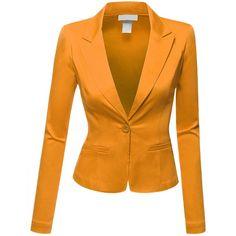 Doublju Women Comfortable Boyfriend Cropped Regular Fit Suit Jacket... ($23) ❤ liked on Polyvore featuring outerwear, jackets, blazers, blazer, boyfriend blazer jacket, cropped blazer jacket, mustard yellow jacket, mustard blazer and orange blazer
