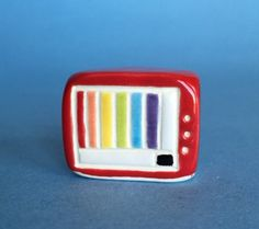Miniature Television Red Little TV ceramic by thelittlereddoor