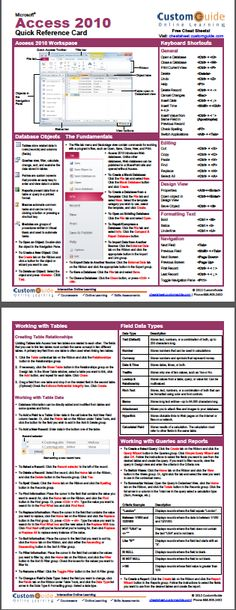 Free Access 2010 Cheat Sheet http://www.customguide.com/cheat_sheets/access-2010-cheat-sheet.pdf
